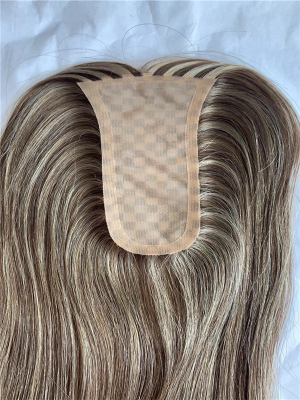 Natural Look Silk Base Woman Topper Hair Pieces with Different Color for Cancer Patient WK131