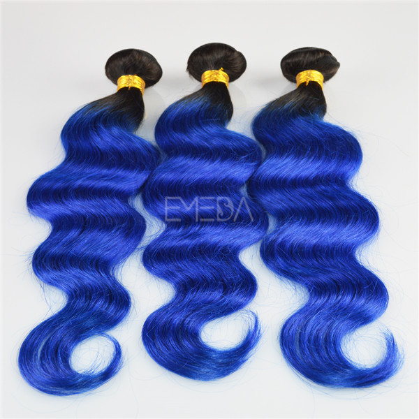"2"" natural color 14"" blue two tone human hair weft LJ176"