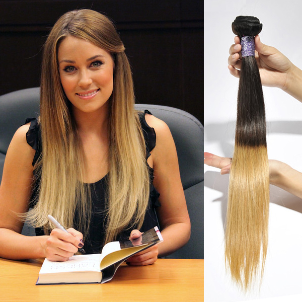 Women Clip In Grant Hair Ombre Two Tone Colorful Pieces Straight Long