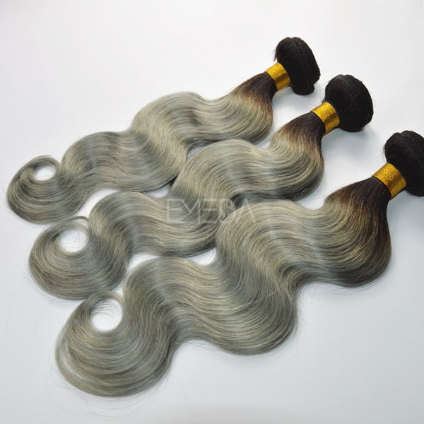 Ombre grey two tone body wave hair weft  zj0037