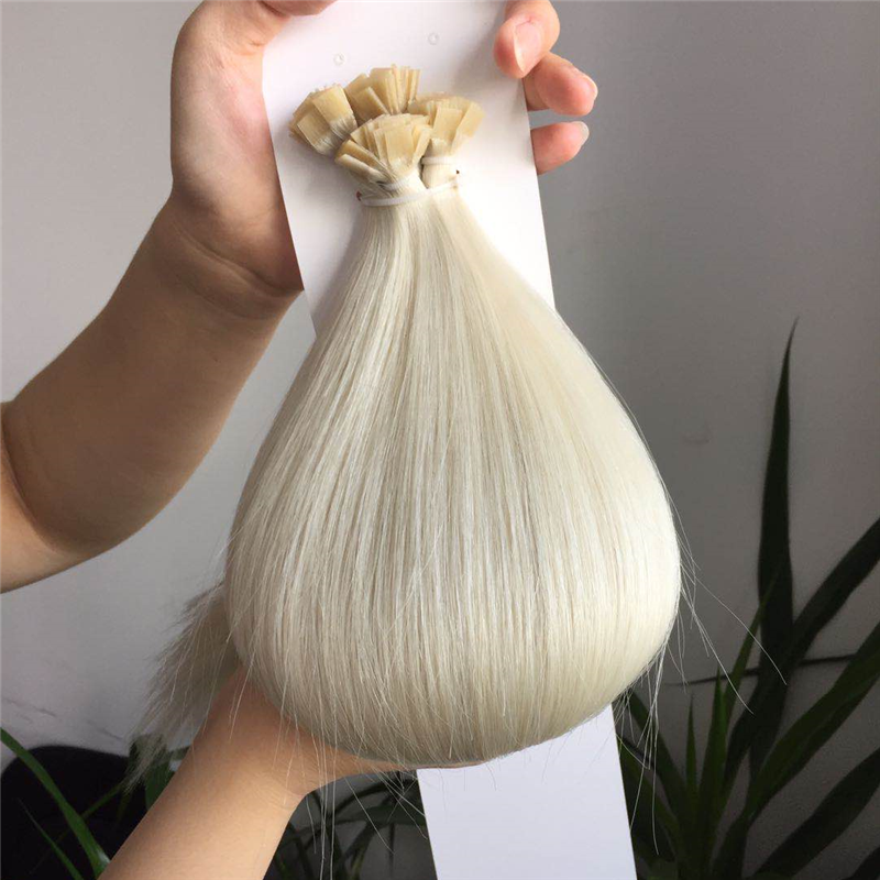 Platinum Pure White Color Flat Tip Hair Extension Best Hair Quality WK216