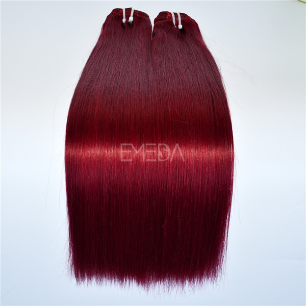 Burgundy color Peruvian remy hair LJ174