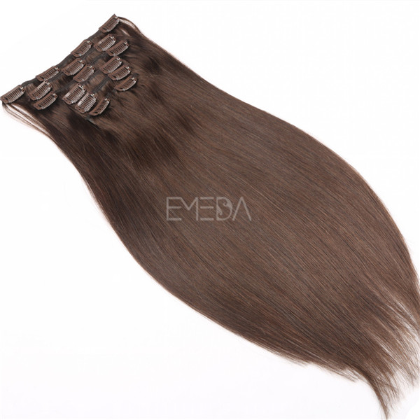 Light brown human remy clip in hair extensions yj254