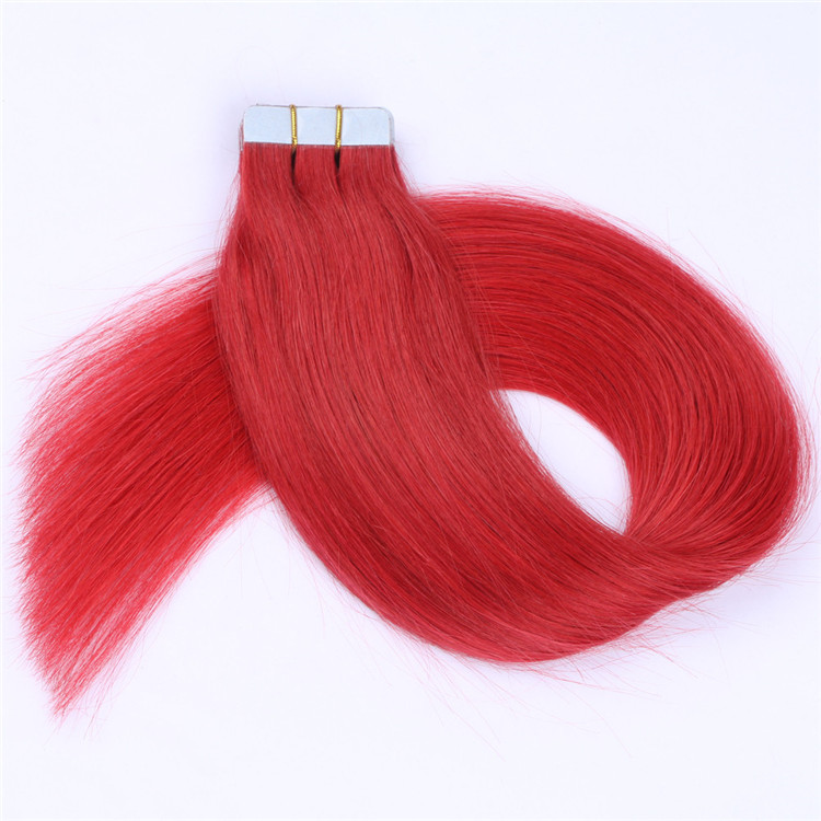 Remy Hair Extensions Tape In Hair Brazilian Best Quality Red Color Extensions  LM258