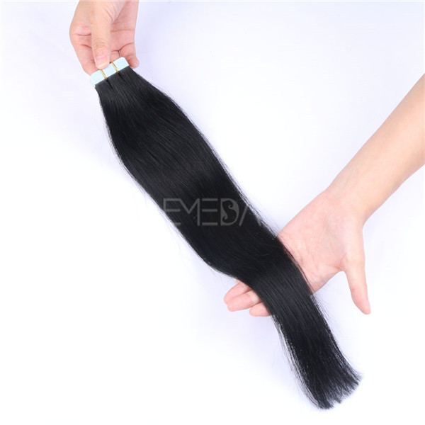 Silk straight style and Remy hair grade hair extensions 18inch 1# Black color YL099