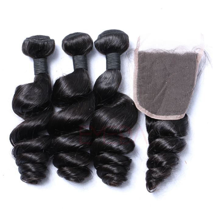 EMEDA Brazilian Virgin Hair Loose Wave Best Black hair EXtensions HW007