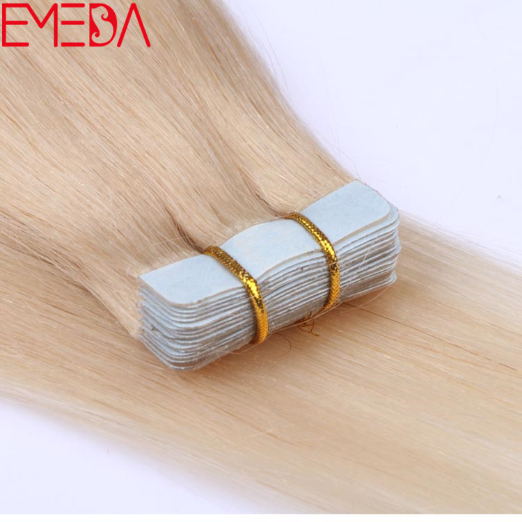 White Blonde Color 60 Virgin Cuticle Tape Human Hair Extensions