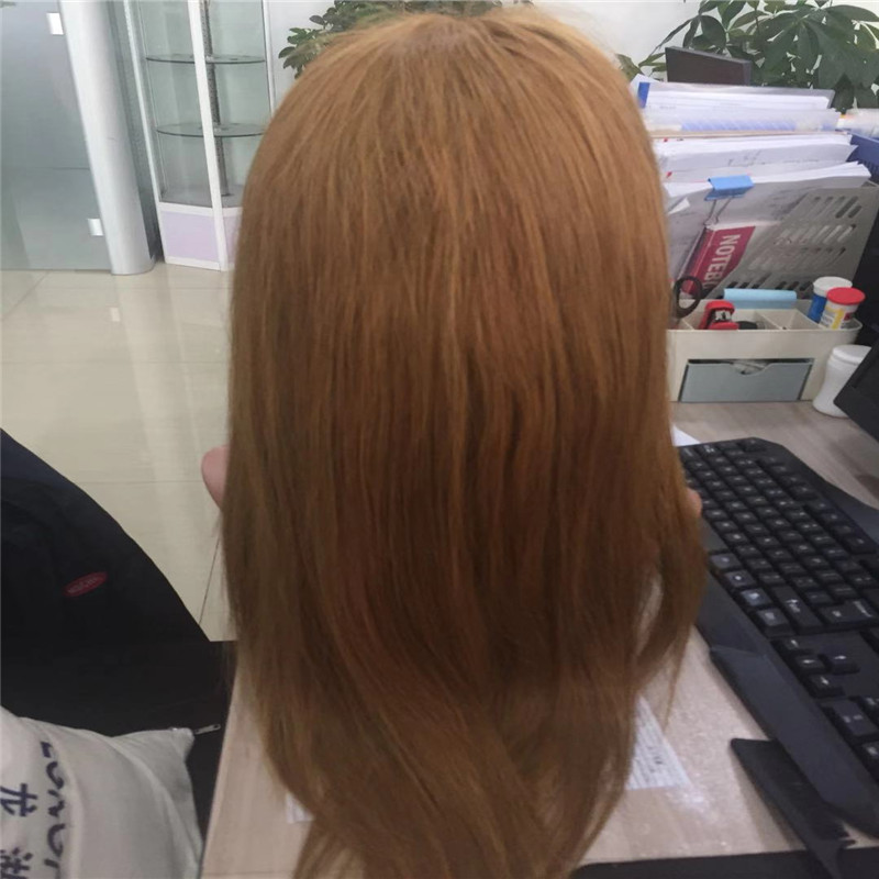 Customized Wig Yellow Color with High Density Front Lace WK086