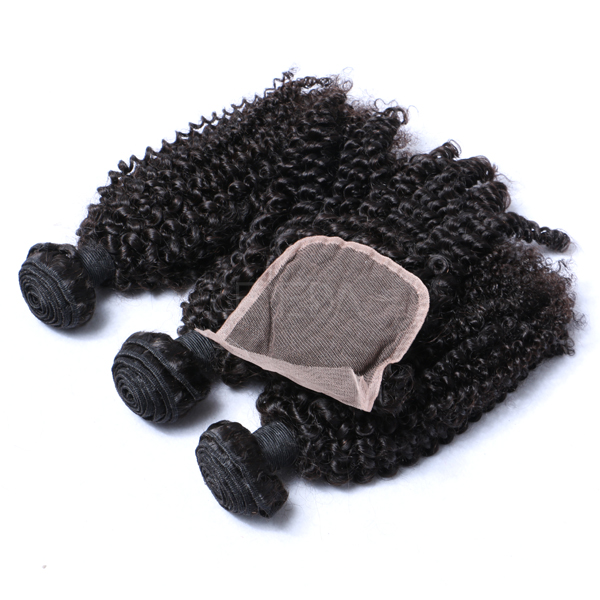 High quality hair extensions with lace closure kinky curly remy hair WJ027
