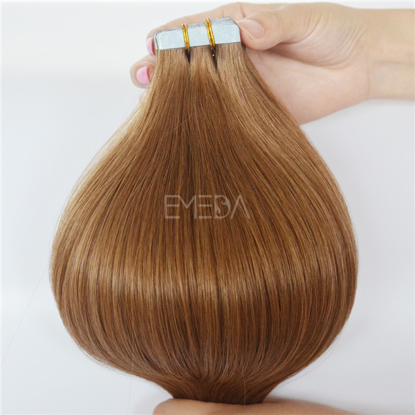Brown color double drawn tape in beauty works hair extensions YJ103