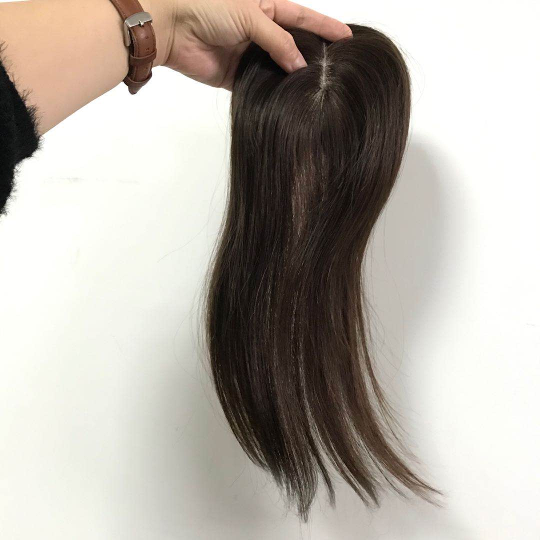 Brown color silk base topper for hairless woman with clip 18 inch Indian Hair WK223