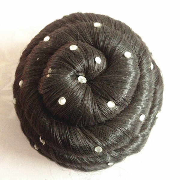 black synthetic hair bun LP16