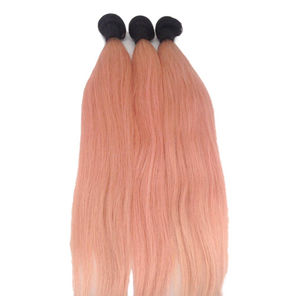 Pink Hair Extension Ombre Color Bundle Black Root WK111