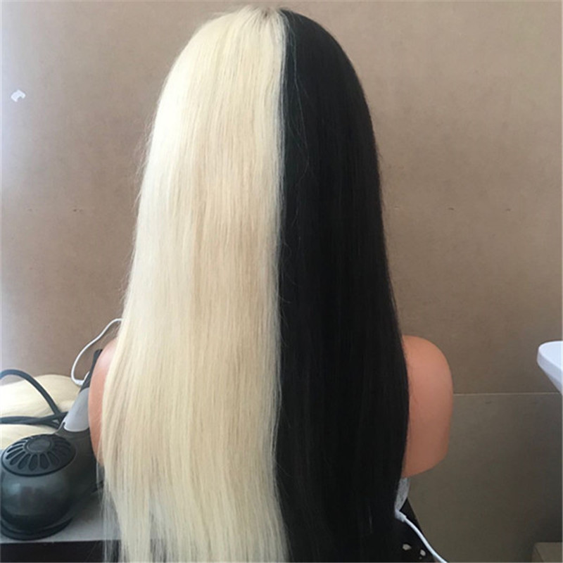Yin and Yang Wig Black and White Wig Long Length Hair WK151