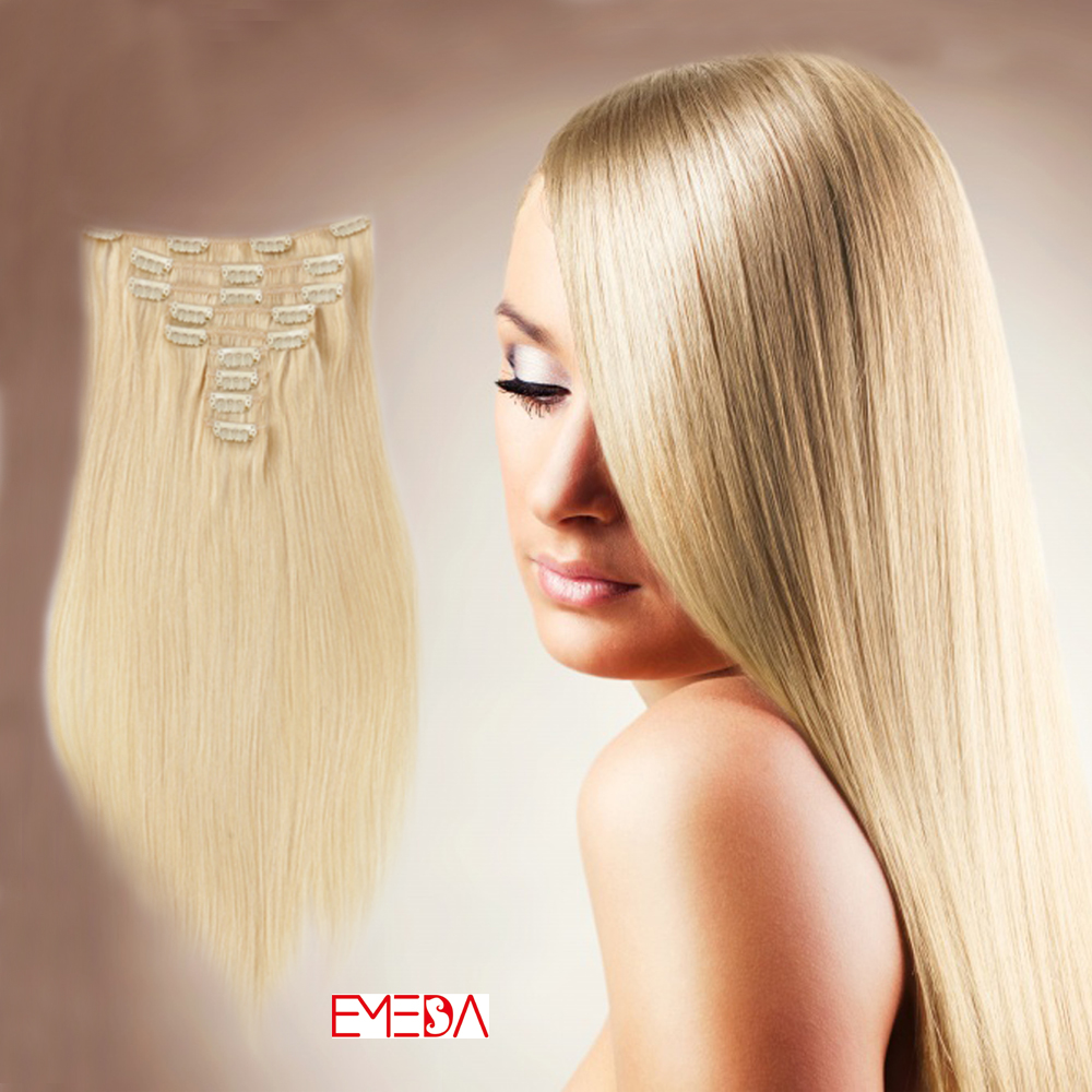 100 Real Human Hair Clip In Extensions Xs033 Emeda Hair