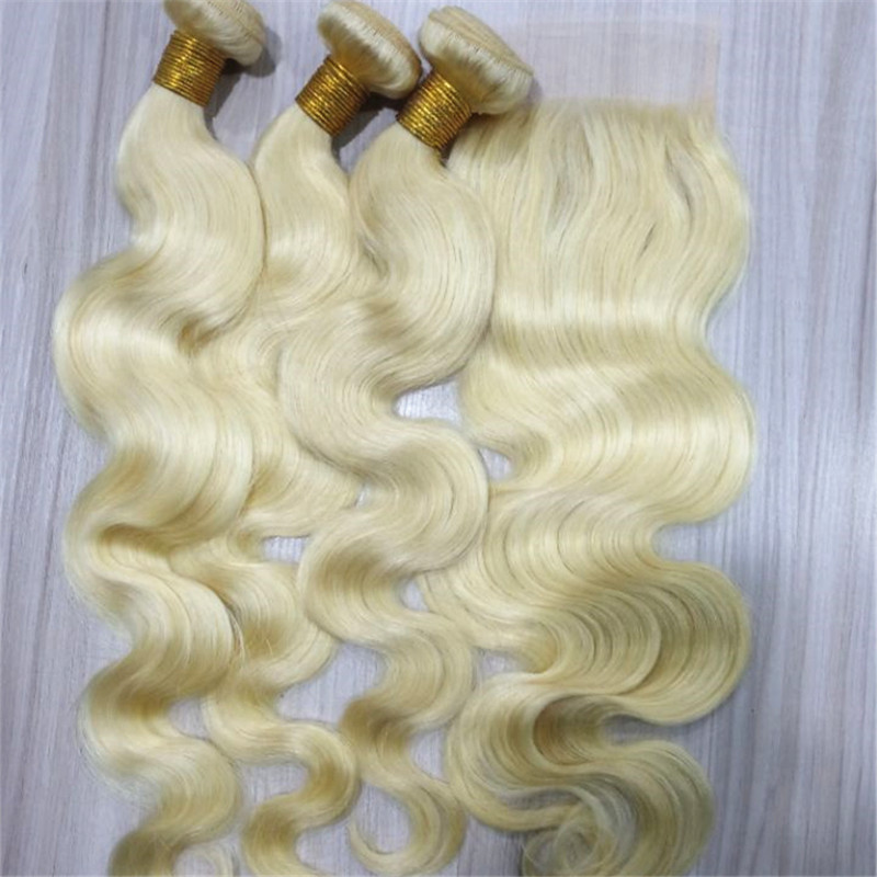 Blonde hair weft body wave remy human hair bundles YL293