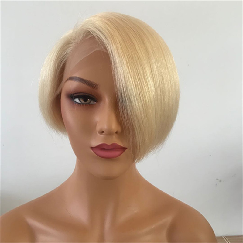 Pixie cut wig short lace front human hair wigs Pre Plucked  13X6 Straight Lace Front Wig Remy Hair 6inch With Baby Hair YL381