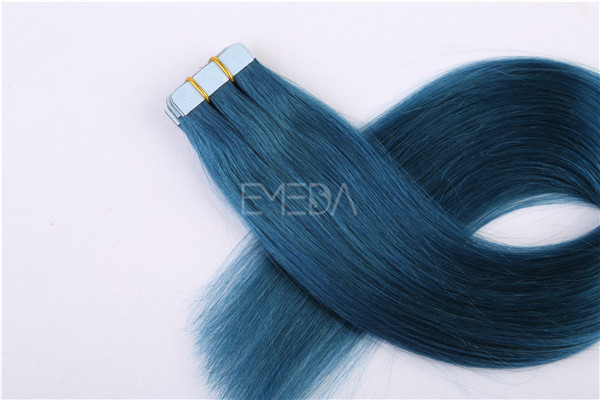 Blue color human hair tape hair extension ZJ0050