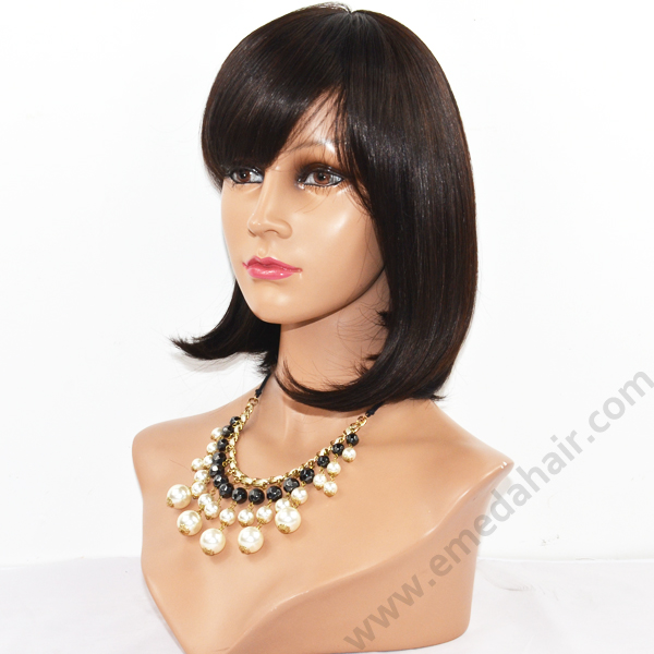 Wholesale high quality remy silk straight glueless full lace human hair wig YL065