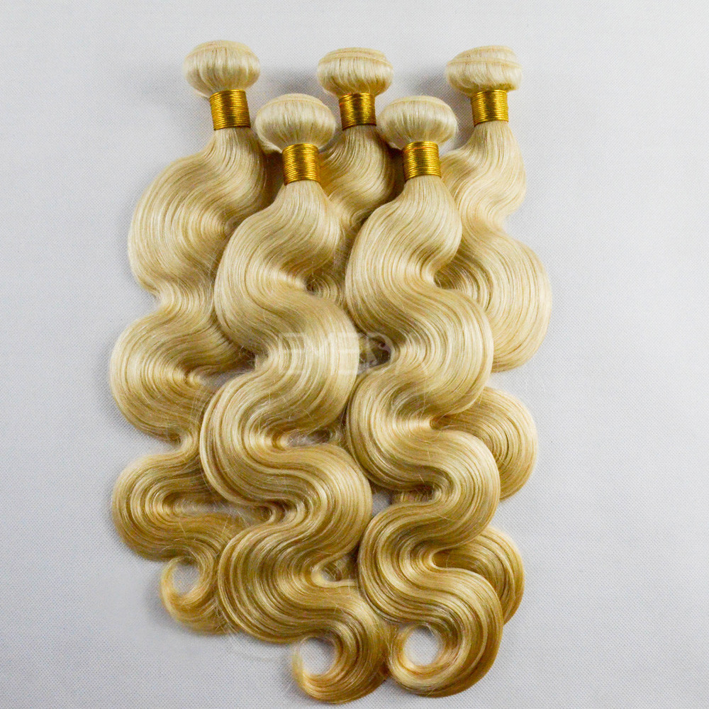 Top grade blonde remy human hair body wave hair extensions WJ021