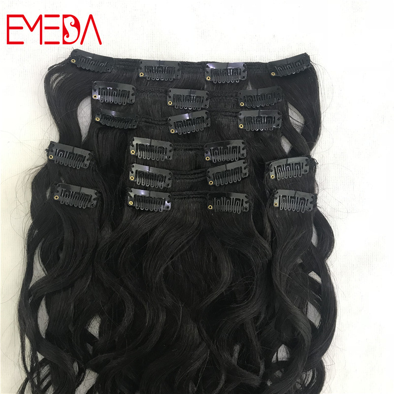 Natural virgin human hair clip in hair extensions for black woman girls body wave wavy YJ305