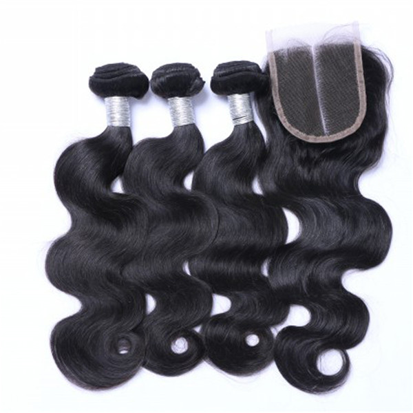 Remy Hair Bundles Body Wave With Closure Natural Hair Weaves    LM041