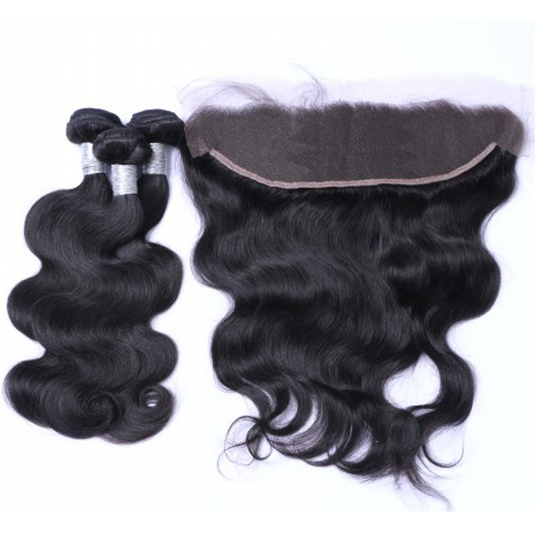 Unprocessed Human Hair Weave With Closure Frontal Remy Body Wave Hair Bundles  LM213