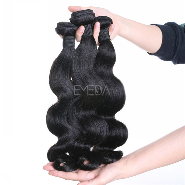 Stock virgin cuticle Brazilian human hair body wave texture hair weaves zj0009