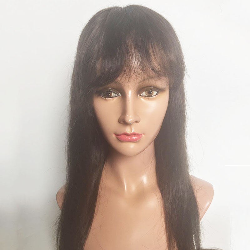 Factory supply Full lace wigs brown color straight 130 % 150% density YL407