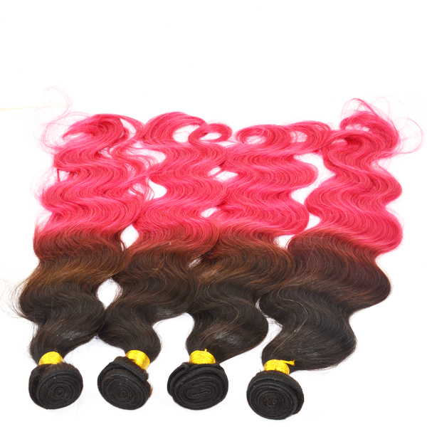 Ombre 1B Red 2T Color 100% Human Hair Weft Extensions Body Weft YL194