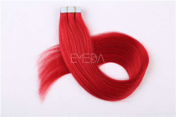 Cherry red Indian temple hair tape hair extensions  ZJ0051