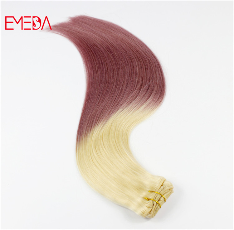 Best balayage ombre pink blonde clip in human hair extensions double drawn made in China best suppliers YJ319