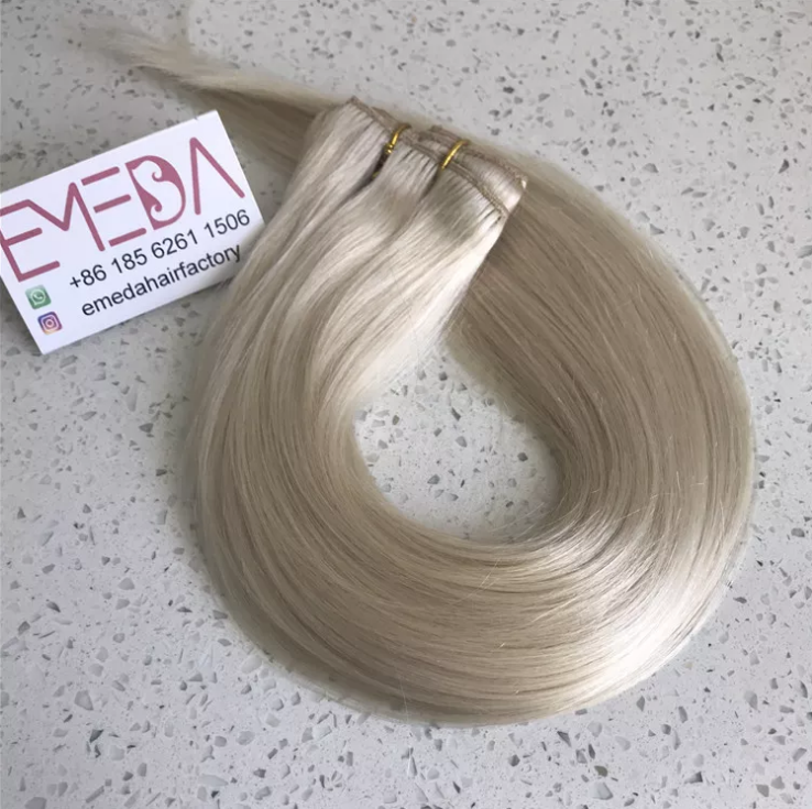 clip on extensions manufacture Melbourne virgin russian hair platinum blonde YJ297