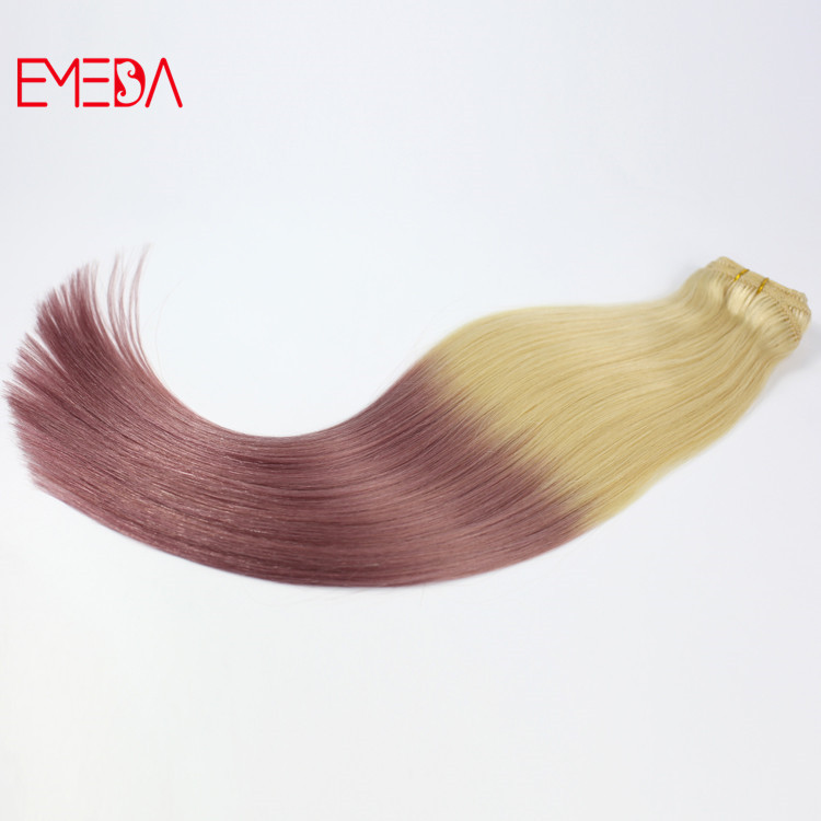 China ombre pink blonde clip in human hair extensions factory supplies YJ318