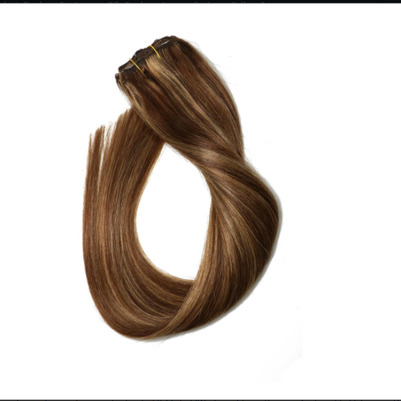 Clip in Hair Extensions Human Hair Highlights  Ombre for Fine Hair Full Head Silky Straight Soft Remy Hair YL325