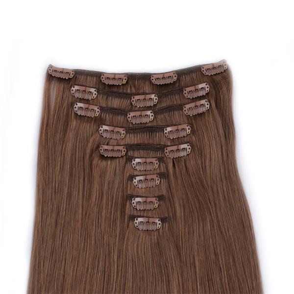 wholesale 100 remy brazilian human  clip in hair extensions for women YL240