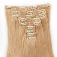Double weft clip in human hair extensions thick XS063