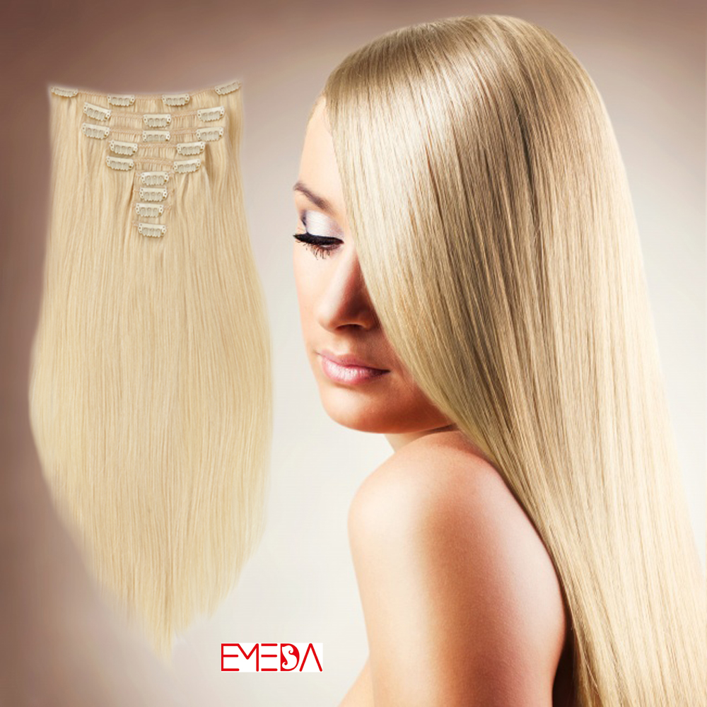 China Hair Extensions With Clips Human Hair Supplier Wholesale Clip In Hair Extensions  LM282