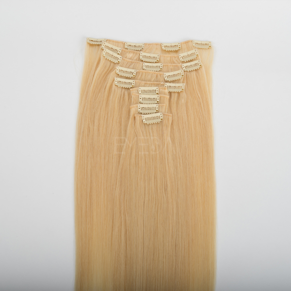 Indian virgin cllip in blonde straight hair extension CX040