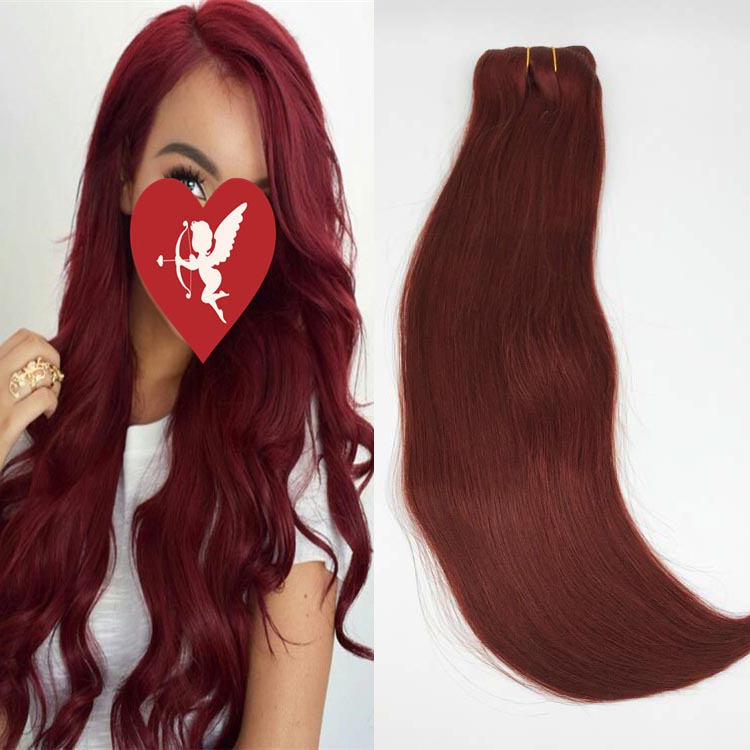 China straight clip in hair extensions factory professional manufacturer auburn colored YJ273