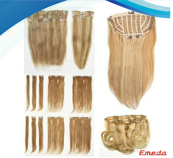Wholesale virgin brazilian human hair wig clip in hair extensions