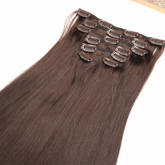 Clip in hair,virgin brazilian full head clip in hair extension, straight human hair clip in extensions HN213