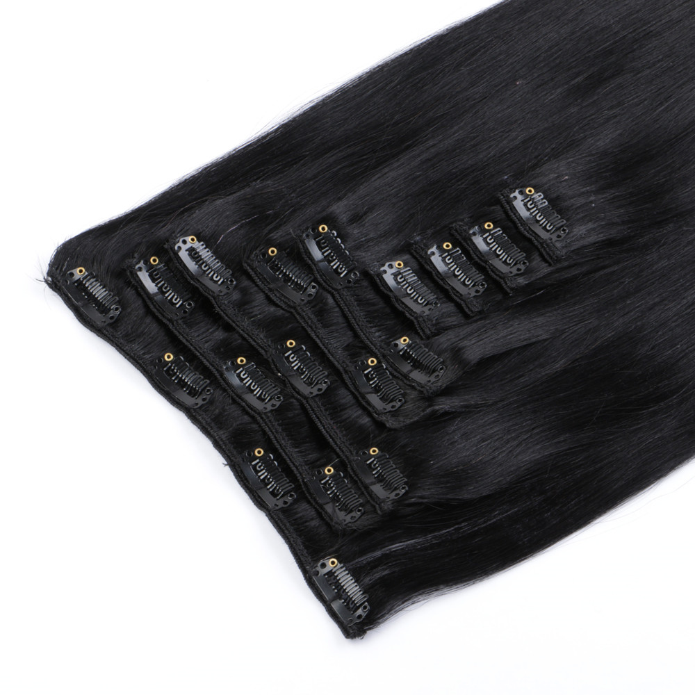 Clip In Hair Extension Wholesale Cheap Black Color Invisible Double