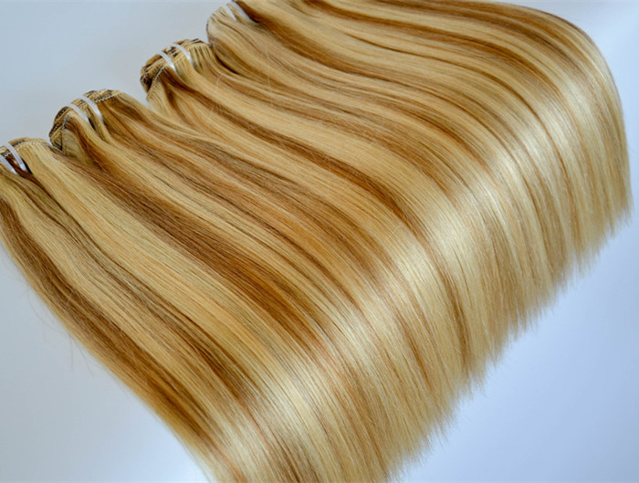 Clip in Hair Extensions Real Human Hair 100g Silky Straight Remy Hair Color #8/613  Brown with Blonde Highlighted YL379