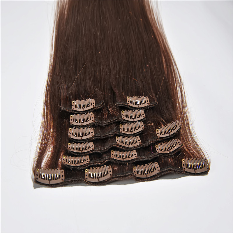 Straight real human Brazilian clip in hair extensions WK089