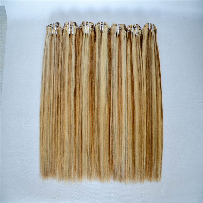 Hot sale cheap unprocessed virgin human clip in hair extension WK068