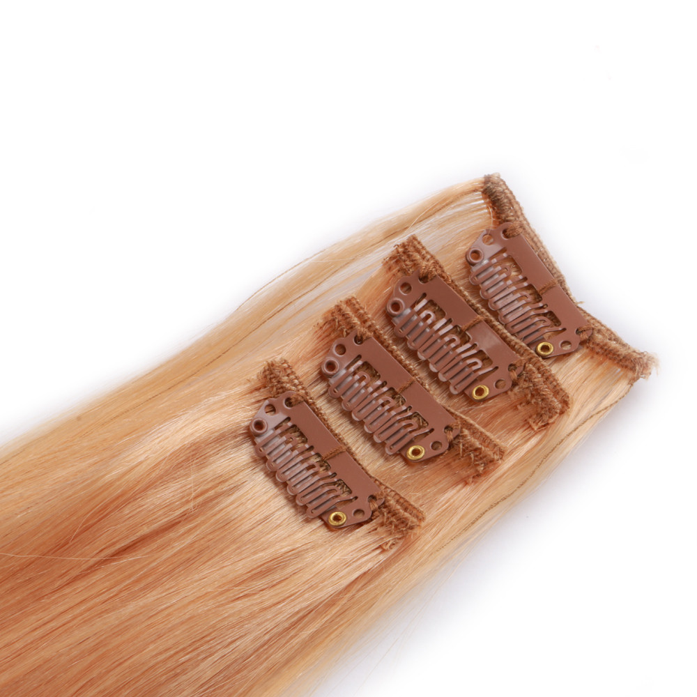 Clip in hair Hot sale 100% human hair extensions indian colorful straight hair double drown hair extensions clip in HN218
