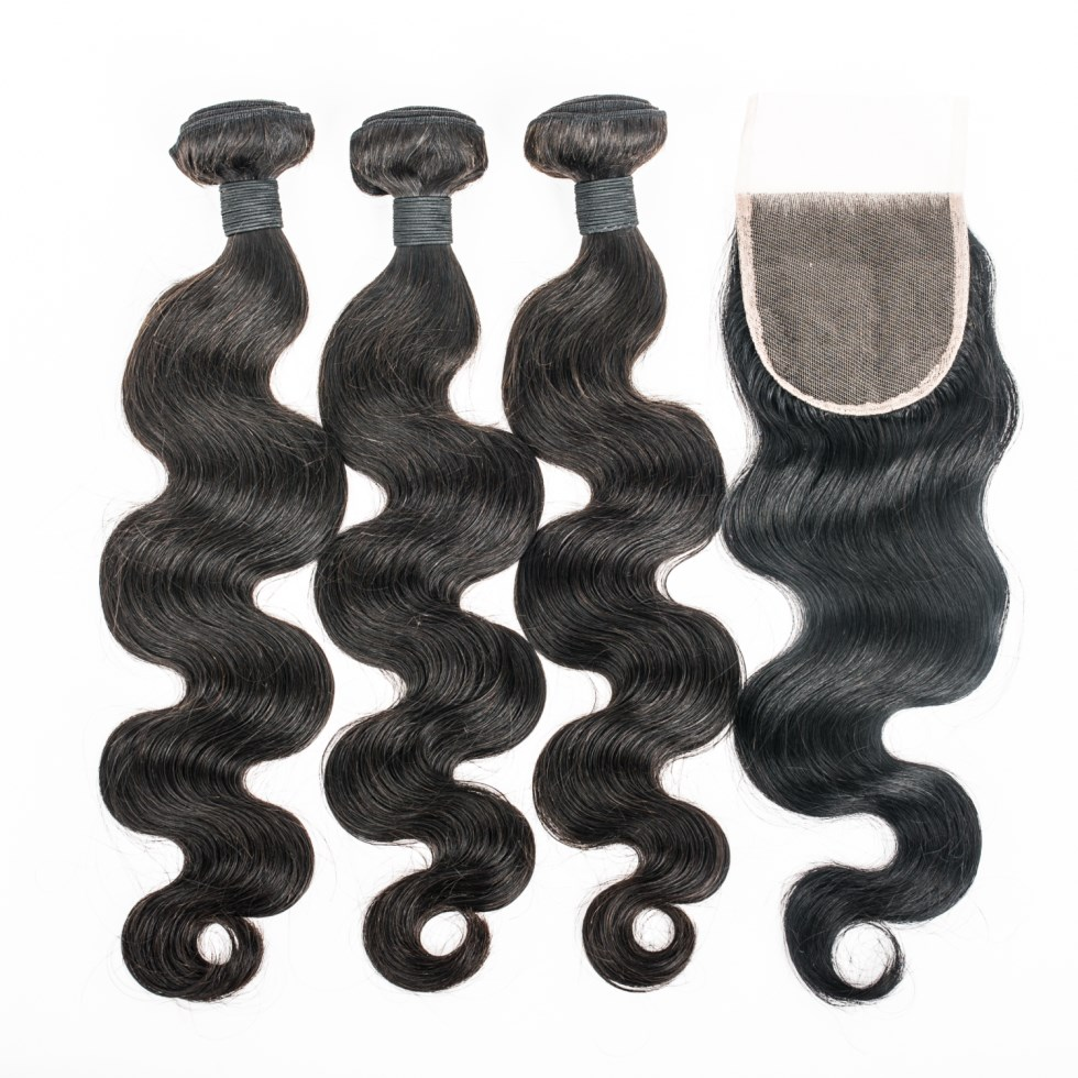 Weave bundle with closure water wave closure mink bundle hair with closure HN 263