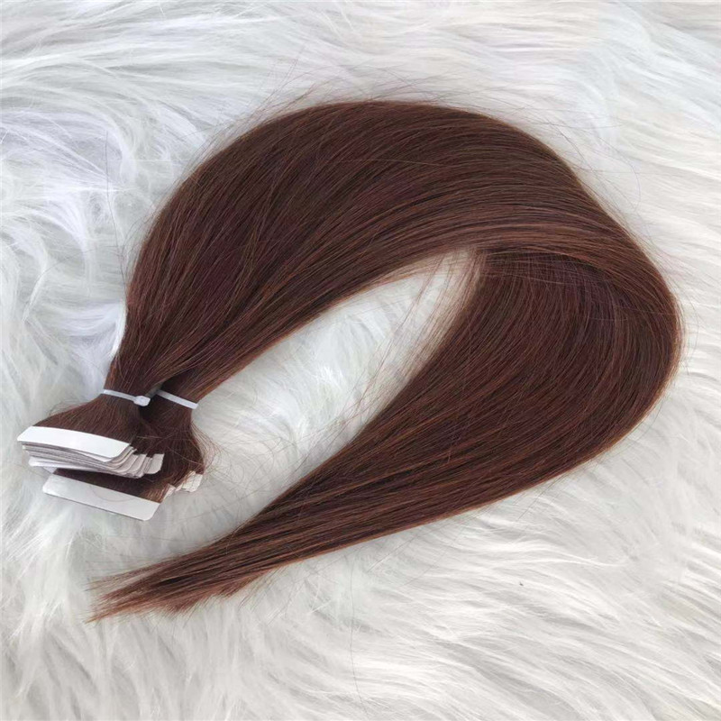 Red Brown Tape in Hair Extension Color 33 White Tape Straight Texture WK083