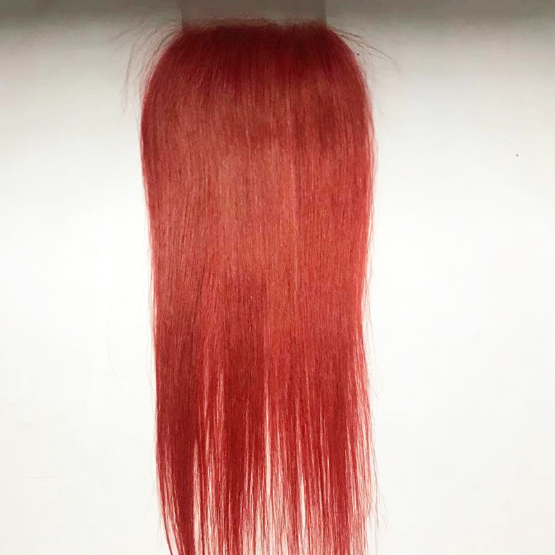 Straight with Lace Closure Human Hair Bundles    Closure red brown  Hair Bundles YL455